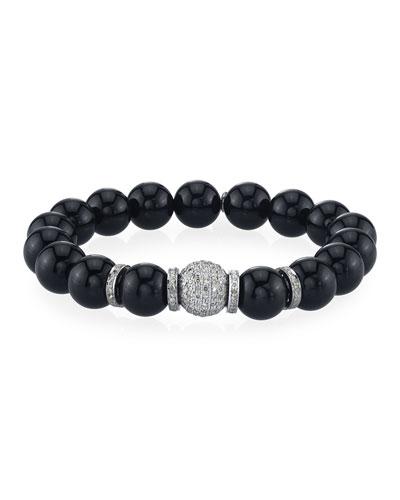 10mm Black Onyx & Diamond Bead Bracelet