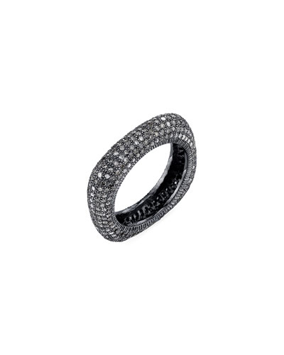 Diamond Pave Square Stack Ring, Size 7