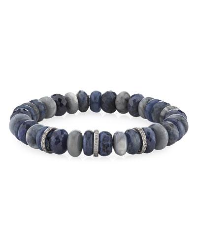 10mm Multi-Stone & 3-Diamond Rondelle Bracelet