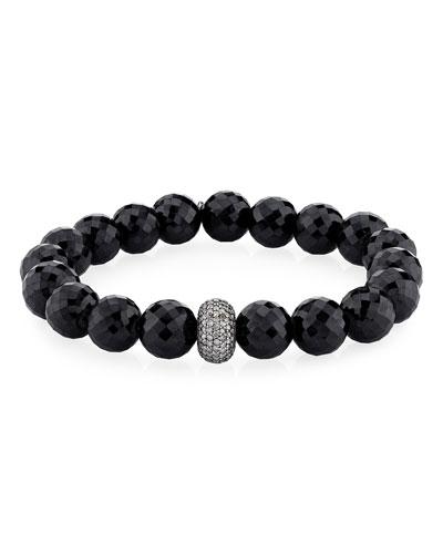 10mm Black Spinel & Diamond Donut Bracelet