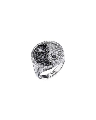 Black & White Diamond Yin-Yang Ring