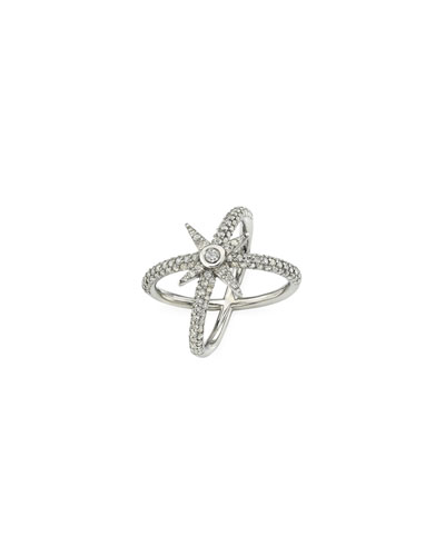 Pave Diamond Starburst Ring, Size 6