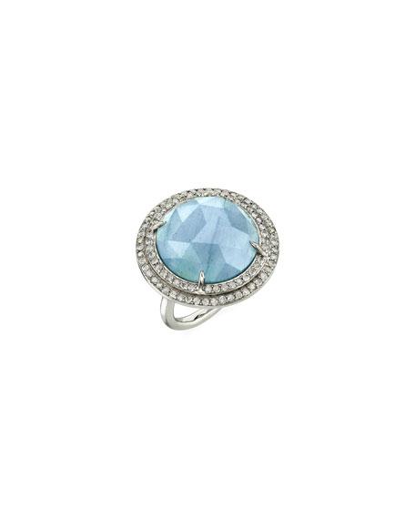 Sheryl Lowe Aquamarine & Diamond Double-Halo Ring, Size 8