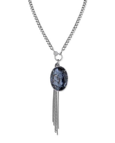 Long Pietersite Oval & Fringe Necklace w/ Diamonds