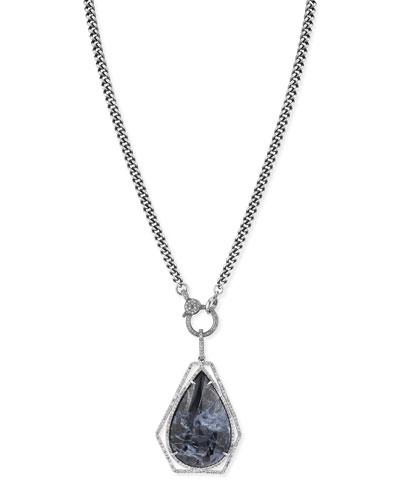 Long Pietersite Teardrop Necklace w/ Diamonds