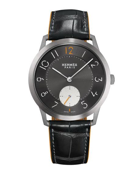 Hermès Slim d'Hermes, Titanium & Alligator Strap 39.5 mm
