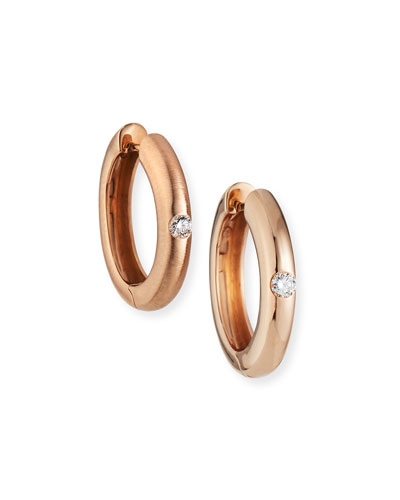 18k Rose Gold Diamond Huggie Hoop Earrings