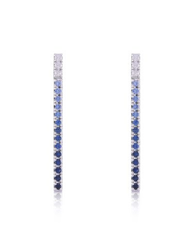 Gembar 14k White Gold Diamond & Sapphire Bar Earrings, Blue