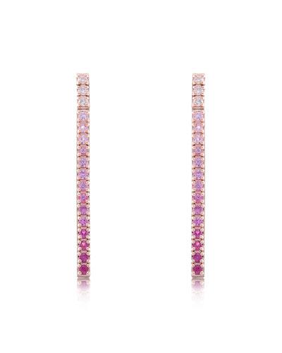 Gembar 14k Rose Gold Diamond & Sapphire Bar Earrings, Pink