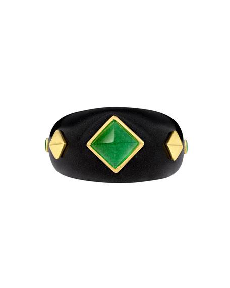 Margot McKinney Jewelry 18k Black Jade, Quartz & Tsavorite Ring, Size 5.5