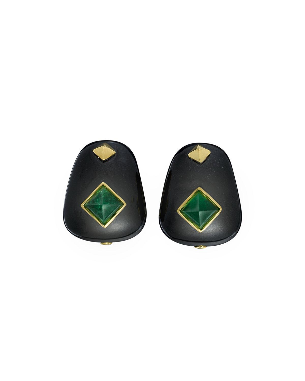 18k Black Jade & Chrysoprase Earrings