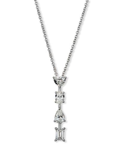Hope 18k White Gold Mixed-Cut 4-Diamond Necklace