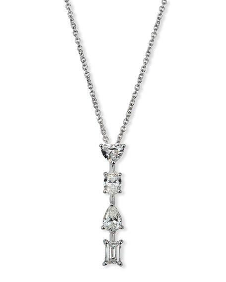 ZYDO Hope 18k White Gold Mixed-Cut 4-Diamond Necklace