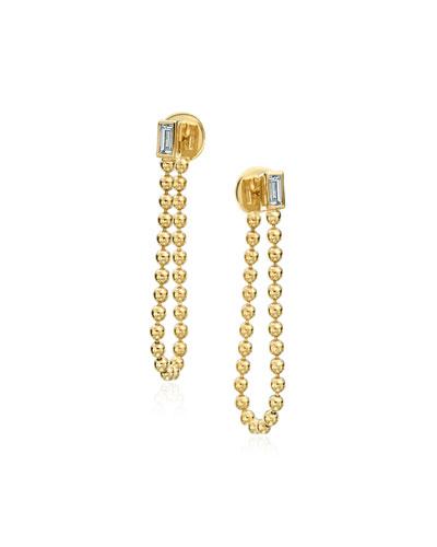 18k Bead Chain & Diamond Earrings