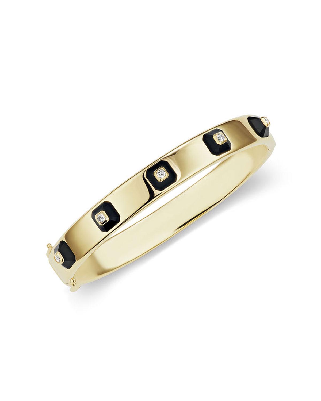 18k Stacked Diamond & Onyx Bracelet
