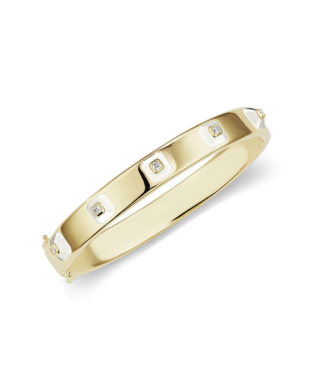 18k Stacked Diamond & Agate Bracelet
