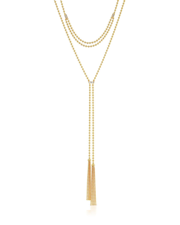 18k Adjustable 2-Tassel Necklace w/ Diamonds