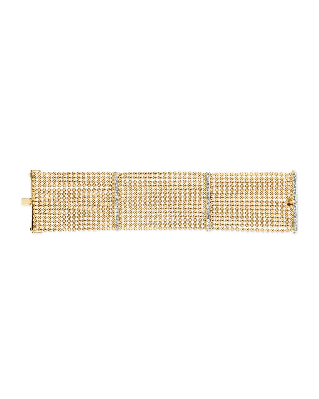 18k 10-Strand Bracelet w/ Diamonds