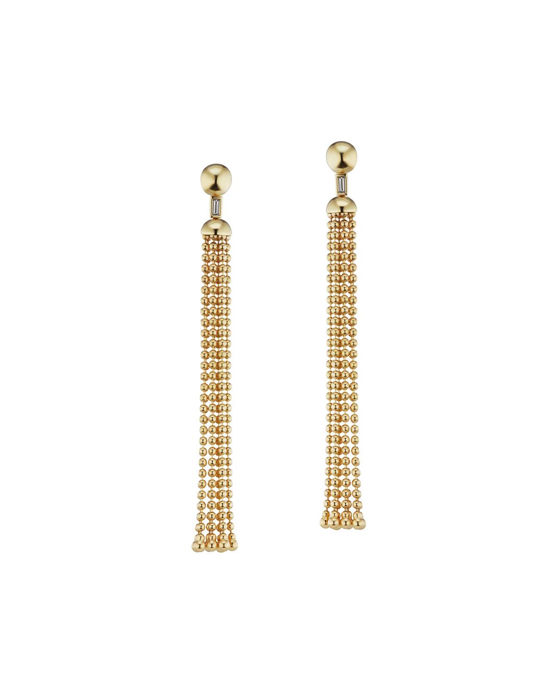 18k Flapper Ball-Chain Tassel Earrings w/ Diamonds