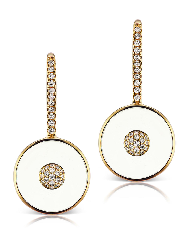 18k White Agate & Diamond Disk-Drop Earrings