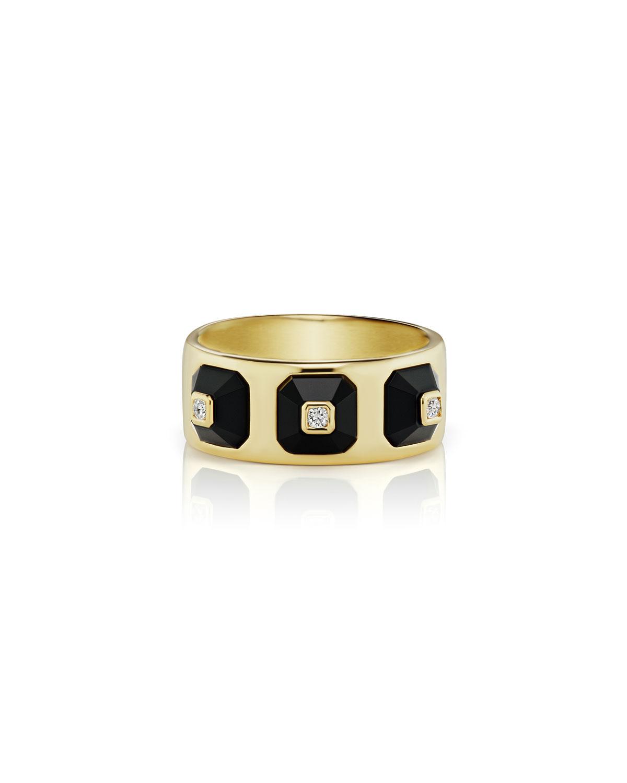 18k Stacked Diamond & Onyx Ring