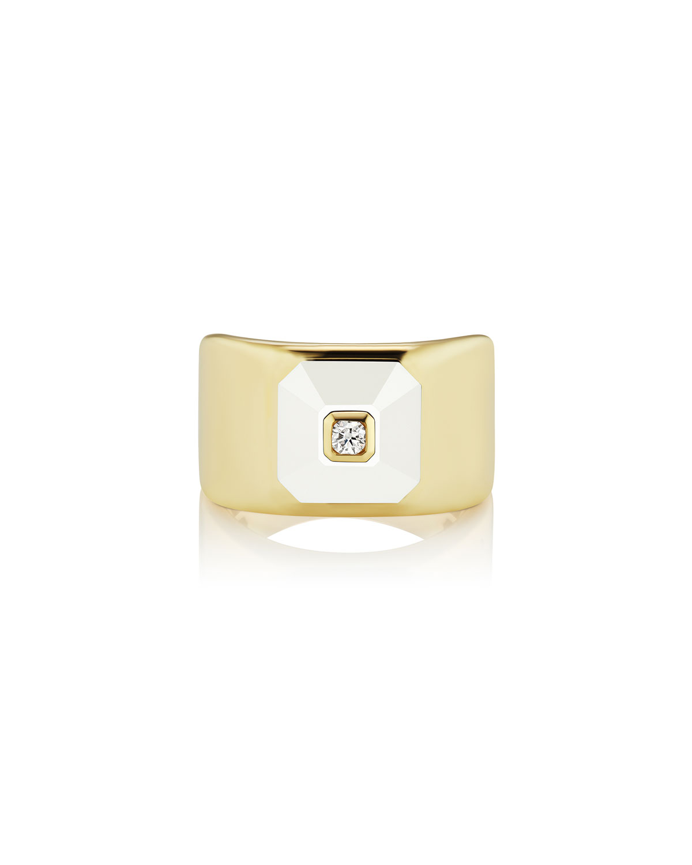 18k Stacked Diamond & White Agate Ring