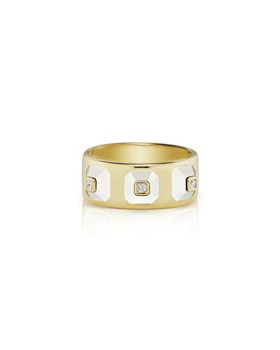 18k Stacked Diamond & White Agate Ring, Size 6.5