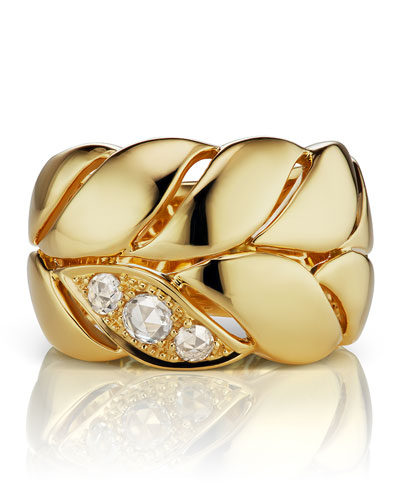 18k Diamond Petal Band Ring