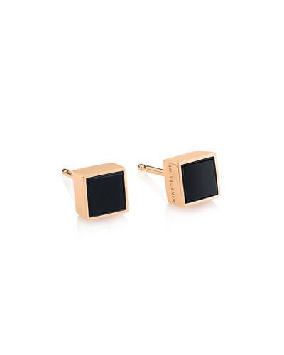Ever 18k Rose Gold Square Stud Earrings, Onyx