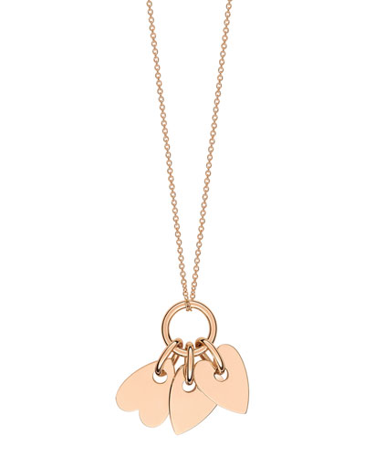 18k Rose Gold Angele 3-Mini Hearts Pendant Necklace