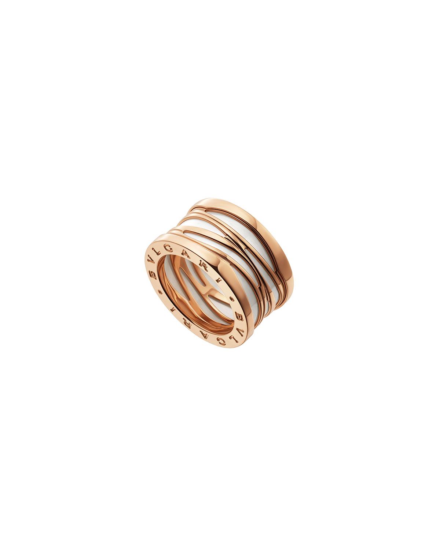 B.Zero1 18k Rose Gold 4-Band Ring with White Ceramic