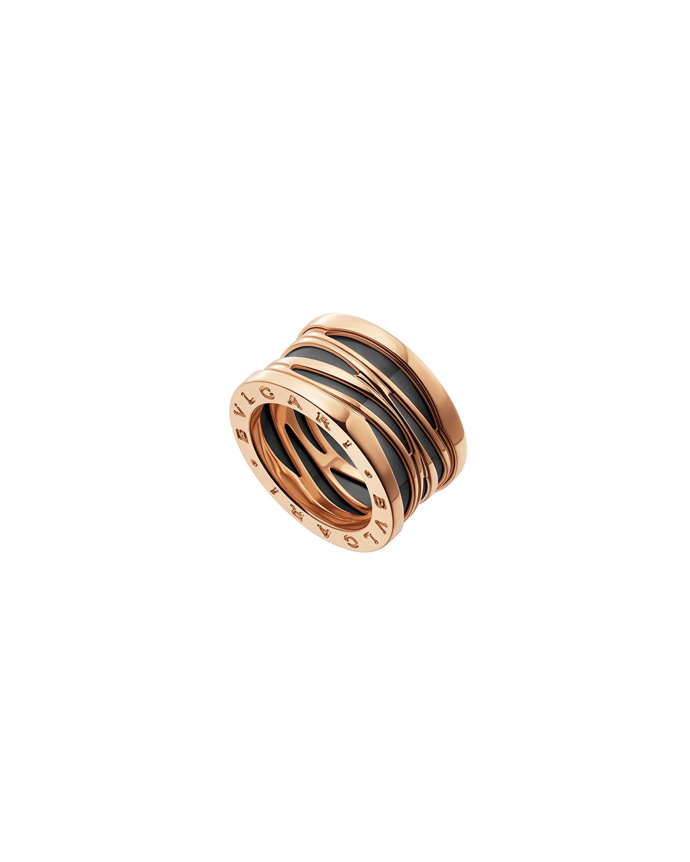B.Zero1 18k Rose Gold 4-Band Ring with Black Ceramic