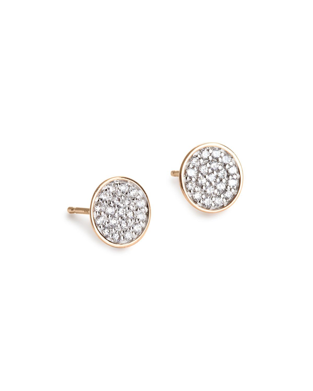 18k Rose Gold Sequin Diamond Stud Earrings