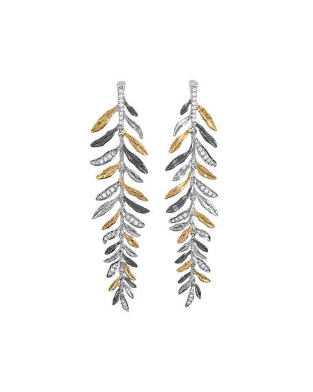 Michael Aram Laurel Tricolor Chandelier Earrings w/ Diamonds