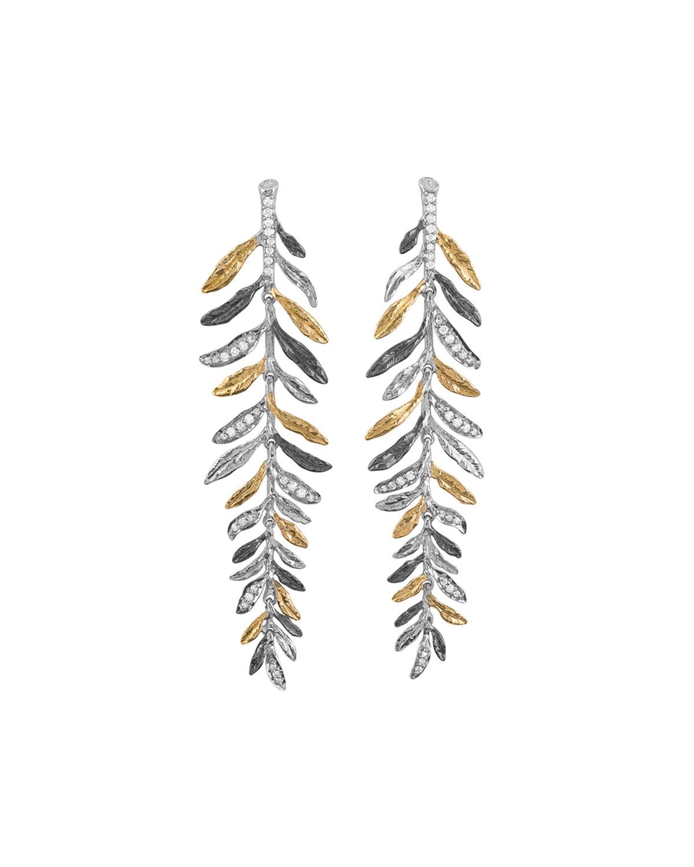 Laurel Tricolor Chandelier Earrings w/ Diamonds