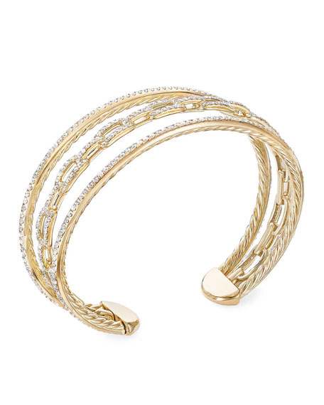 David Yurman Stax 18k Yellow Gold Diamond 3-Row Bracelet, Size M