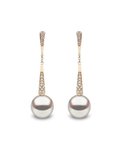 18k Tapered Diamond & Pearl Dangle Earrings