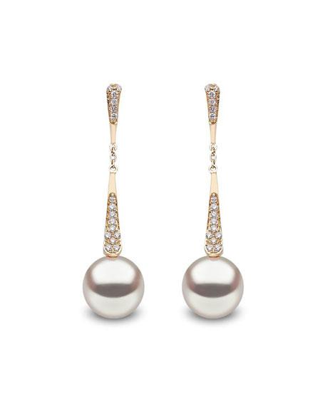 Yoko London 18k Tapered Diamond & Pearl Dangle Earrings