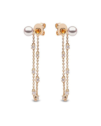 18k Connected Diamond & Pearl Earrings