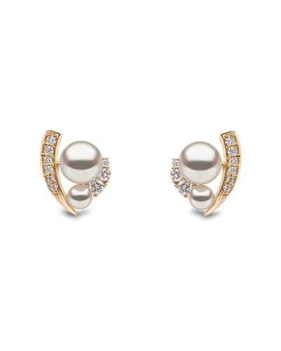 18k Double-Pearl & Diamond-Accent Earrings