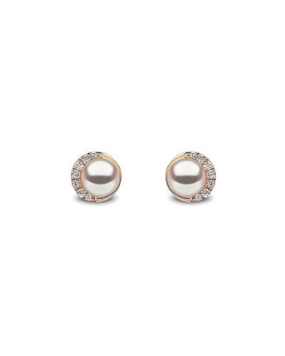 18k Round Pearl & Diamond Stud Earrings