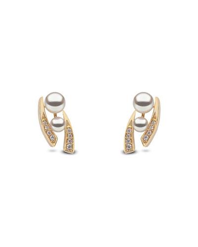 18k Double-Pearl & Tapered Diamond Earrings