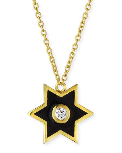 18k Mini Enamel Star & Diamond Pendant Necklace