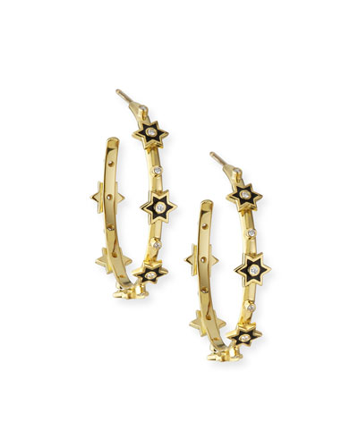 e06687183 Quick Look. Legend Amrapali · 18k Mini Enamel 6-Star Hoop Earrings w/  Diamonds