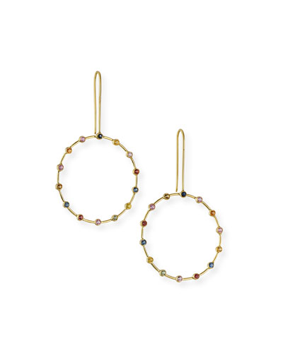 18k Tarakini Hoop-Drop Earrings w/ Rainbow Sapphires