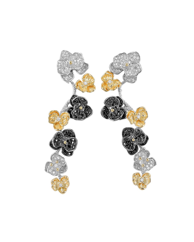 Orchid Tricolor Drop Earrings w/ Diamonds