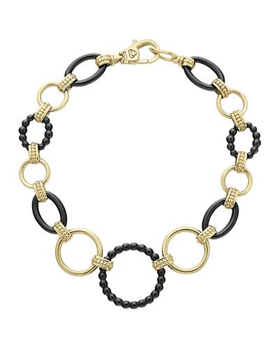 18k Gold Caviar Link Bracelet w/ Black Ceramic