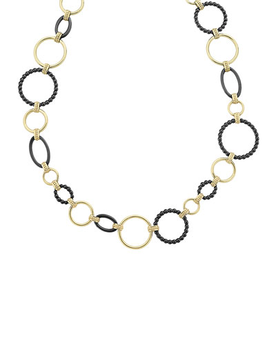 18k Gold Caviar Link Necklace w/ Black Ceramic