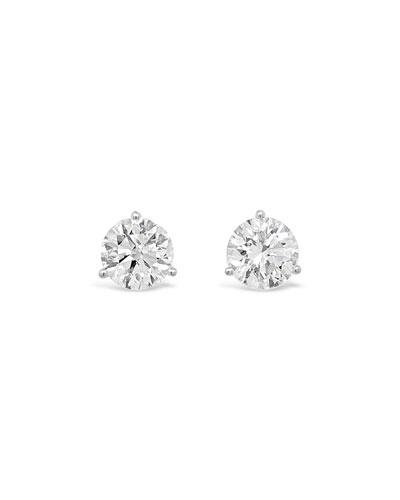 18k White Gold Diamond Martini Stud Earrings, 2.0tcw