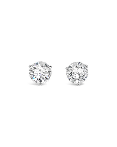 18k White Gold Diamond Martini Stud Earrings, 3.0tcw